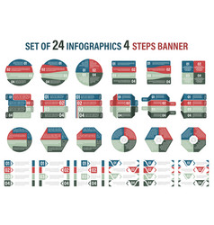 set of infographic four steps banner vector image