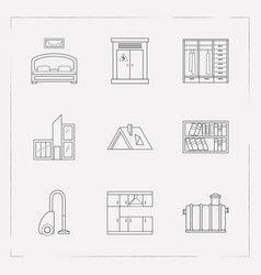 Set of interior design icons line style symbols vector