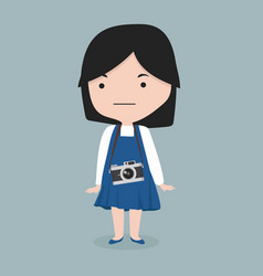 small girl with a camera vector image