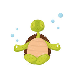Smiling green turtle sitting in lotus position vector
