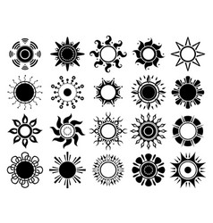 sun silhouettes icon weather summers hot sunshine vector image