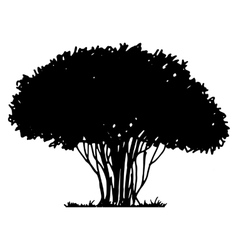 Tree and grass silhouette vector image