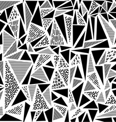 Vintage 80s seamless pattern in black and white vector image vector image