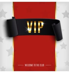 VIP background with realistic black curved ribbon vector