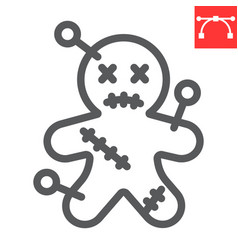 Voodoo doll line icon halloween and scary voodoo vector