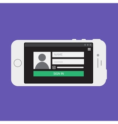 Web Template of Smartphone Login Form vector