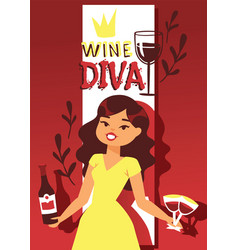 wine lover banner cartoon vector image