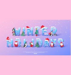 winter holidays background with 3d ice letters and vector image