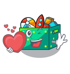 With heart kids toys in the cartoon box vector