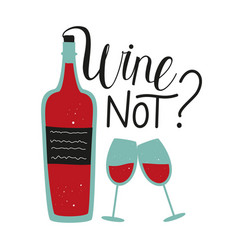 With red wine bottle and couple glasses wine vector