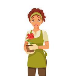 Woman gardener vector