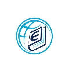 World education letter e vector