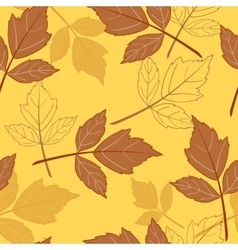 Yellow seamless background with leaves-01 vector