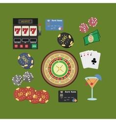 Casino flat icons set vector image