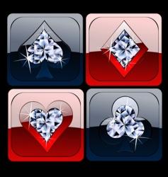 diamond metallic card game sig vector image