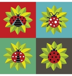 Ladybugs in green leaves on color background vector image
