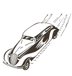 Old car racing at high speed vector image