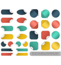 set of blank colorful stickers and tags vector image