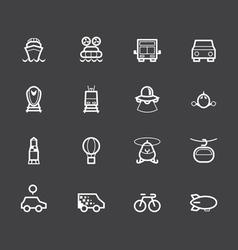 vehicle element white icon set on black background vector image