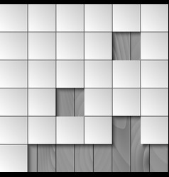 Abstract background with squares and wooden wall vector image vector image
