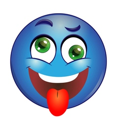 Crazy blue Smiley showing tongue vector image