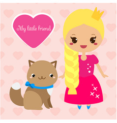 cute princess with cat pet girl in long pink vector image vector image