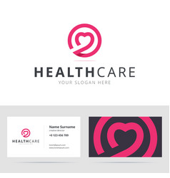Healt care logo and business card template vector image vector image
