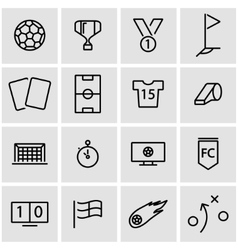 line soccer icon set vector image vector image