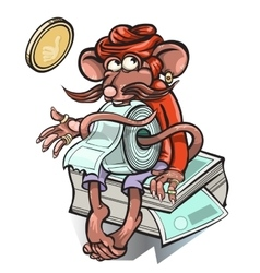 Little mouse who sells tickets for the bus vector image vector image