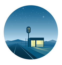 road diner at night round icon vector image vector image