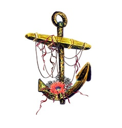 Anchor and poppy vector image vector image
