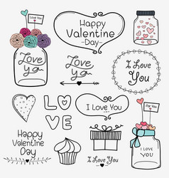 set of valentine day labels and typography vector image vector image