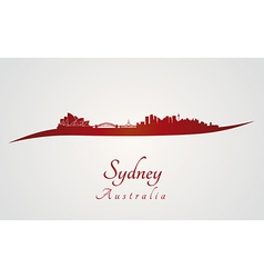 Sydney skyline in red vector image