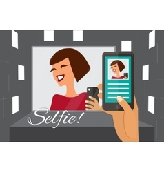 Woman taking selfie vector image