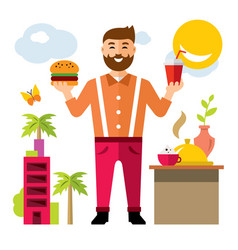 happy hipster man with hamburger and drink vector image