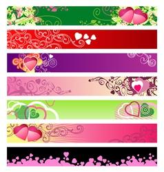 love hearts website banners vector image