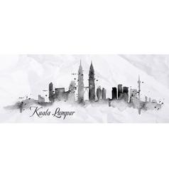 Silhouette ink Kuala Lumpur vector image