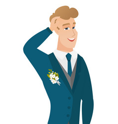 young caucasian groom laughing vector image vector image