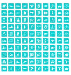 100 hand icons set grunge blue vector image