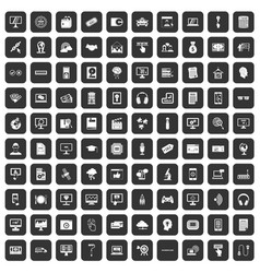 100 website icons set black vector image