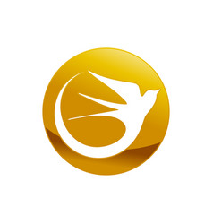 abstract swallow bird golden emblem symbol design vector image