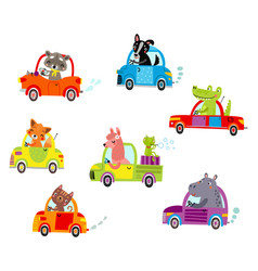Animals on a cars vector