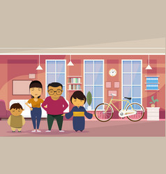 Asian family parents with two kids at home living vector