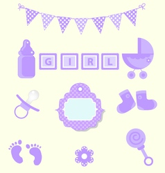 Baby girl set of design element for scrapbook and vector