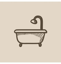 Bathtub with shower sketch icon vector