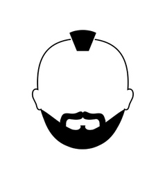 Bearded man with mohawk icon image vector