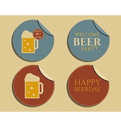 Beer party badges and labels invitation template vector image