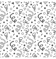 black hand drawn curls and geometrical pattern vector image
