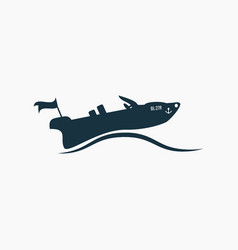 Black powerboat motorboat icon on waves vector
