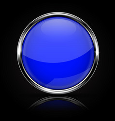 Blue glass button with chrome frame on black vector